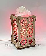 Соляной светильник Деревянный камин Цветы, фото 1