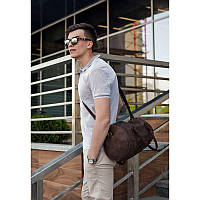 Мужская кожаная сумка Harper темно-коричневая GS