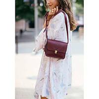 Кожаная женская бохо-сумка Лилу бордовая Krast
