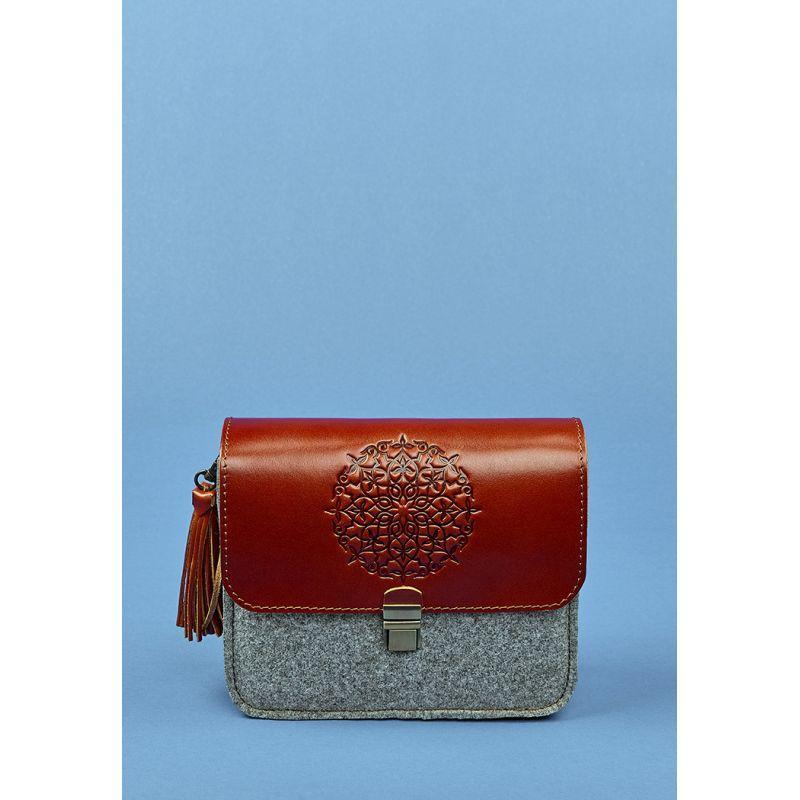Фетровая женская бохо-сумка Лилу с кожаными коричневыми вставками