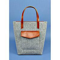 Фетровая женская сумка GS  Шоппер D.D. с кожаными коричневыми вставками