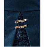 Платье женское батал с ажурным кружевом синее, фото 4