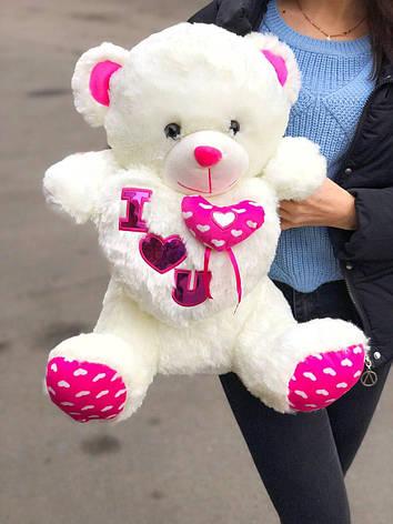 Плюшевый мишка Белый большой с розовыми лапками в подарочной упаковке, фото 2