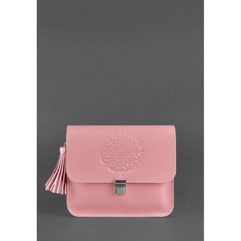 Кожаная женская бохо-сумка Лилу розовая