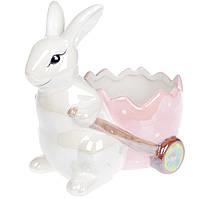 Декоративное кашпо Зайка с тележкой, 22см, цвет - розовый розовый перламутр