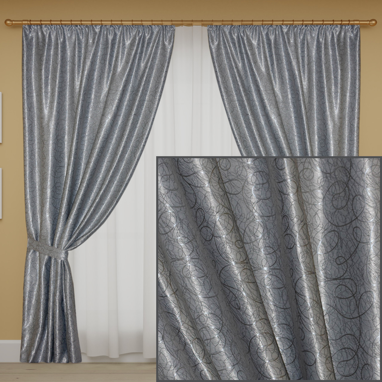 Комплект готових штор блекаут, колір сірий