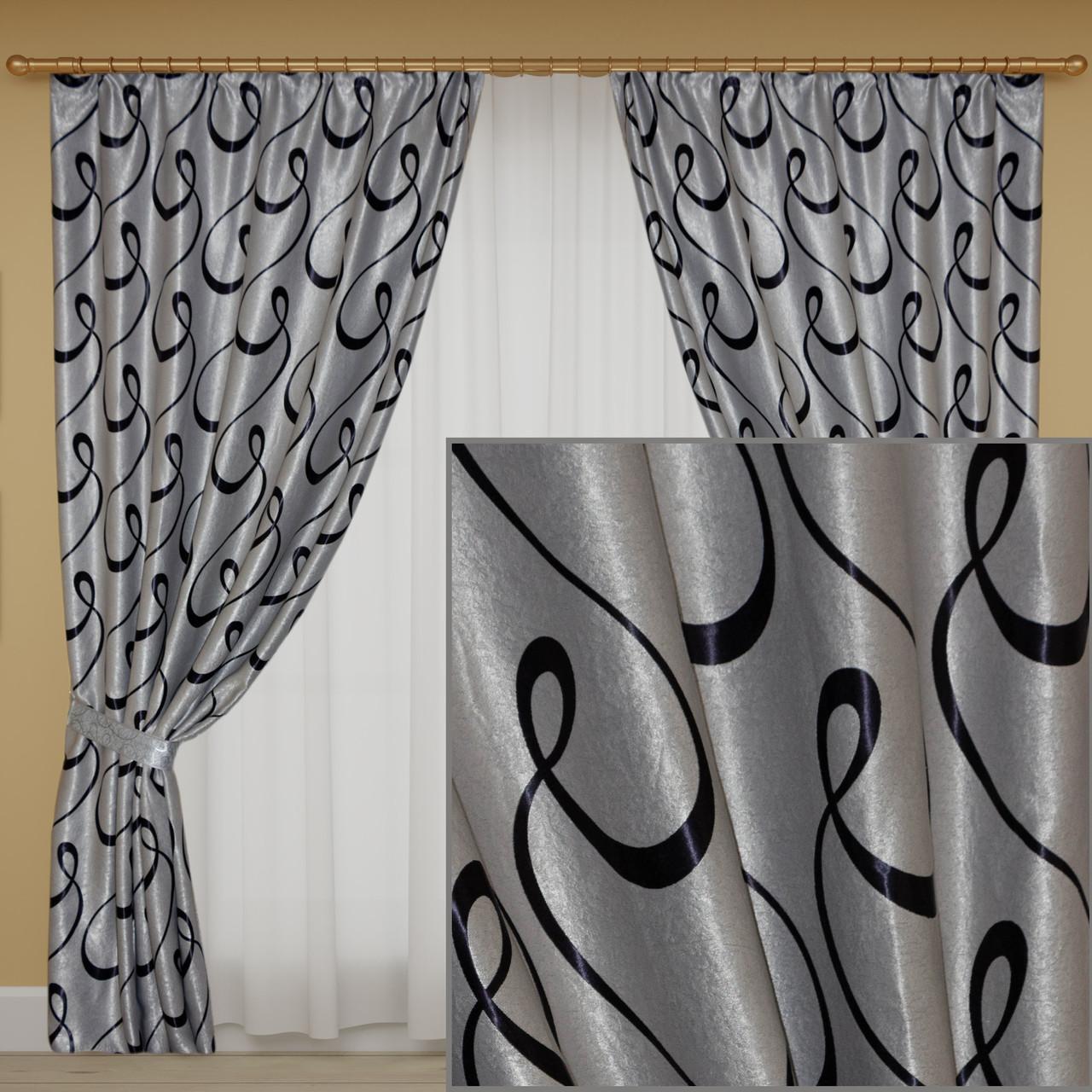 Готовые шторы блэкаут, серые с узором
