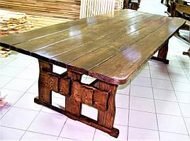 Деревянный стол 3000х1200 мм под старину ручной работы для кафе, дачи от производителя. Wood Table 19