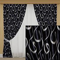Готовые шторы блэкаут, черные с узором, фото 1