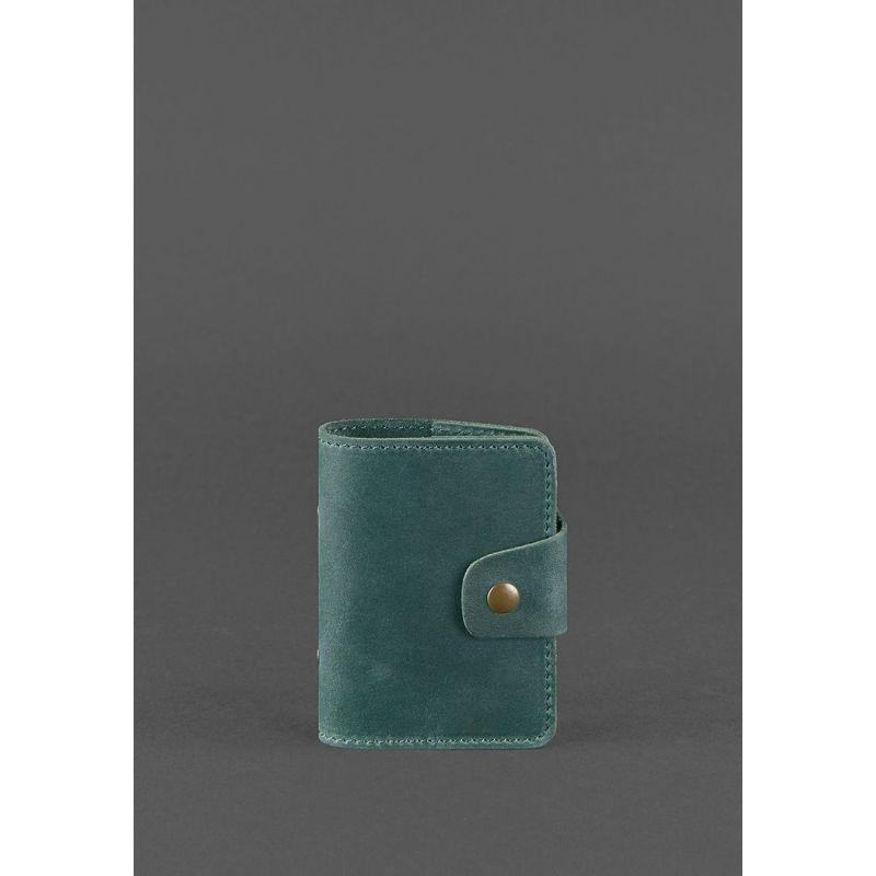 Кожаный кард-кейс 7.1 (Книжечка) зеленый