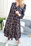 Роскошное платье миди в цветочный принт (0952), фото 4