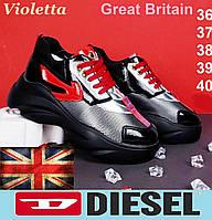 Женские демисезонные кроссовки Diesel. Стильные сникерсы на платформе