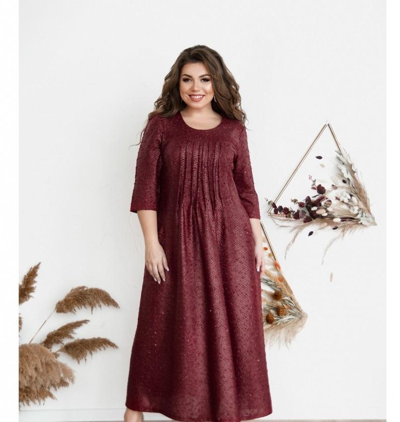 Повседневное женское платье цвет-бордо