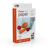 Фотобумага матовая 220г/м, 10x15 (100 лист) ColorWay