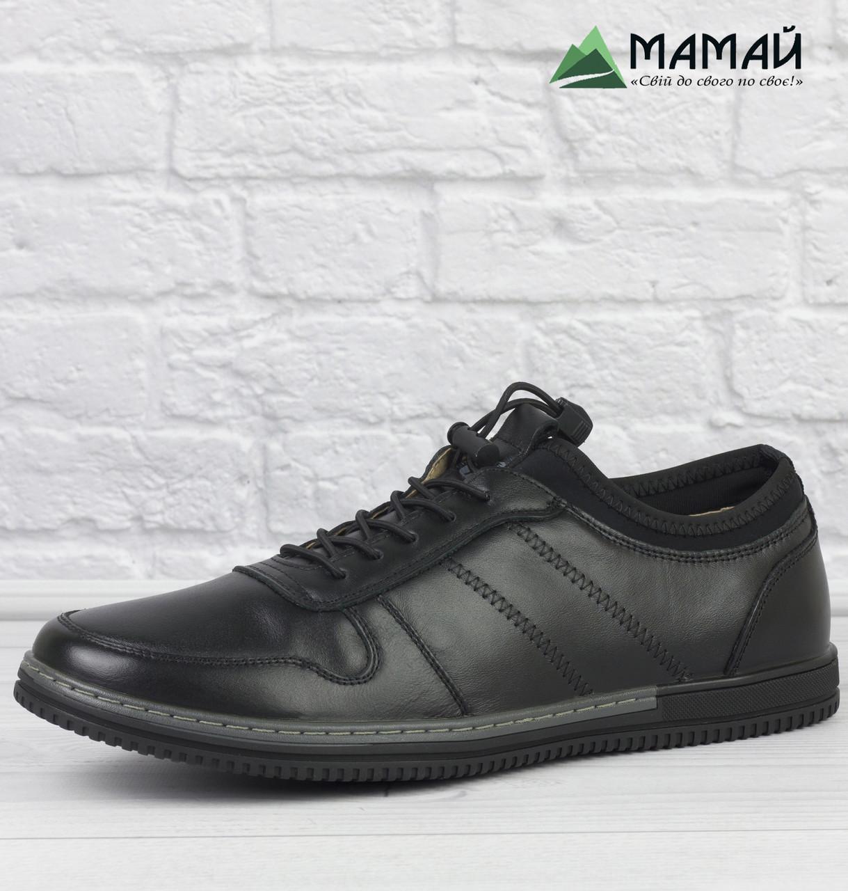 Шкіряні чоловічі кросівки на резинці