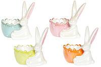 Подставка для яйца керамическая декоративная Зайчик, 4 вида, 10см, набор 4 шт