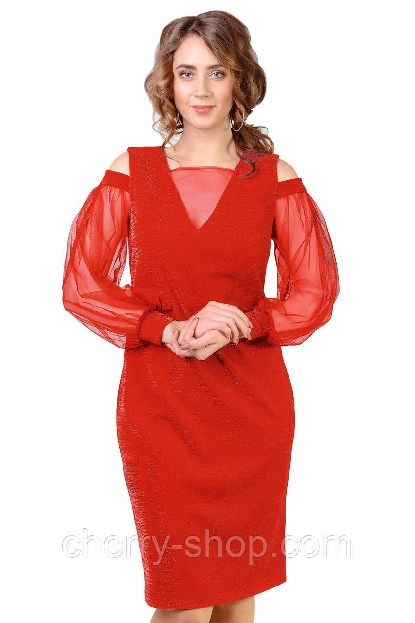 Сукню Коктельное в червоному кольорі напівприлягаючого силуету
