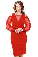 Сукню Коктельное в червоному кольорі напівприлягаючого силуету, фото 1
