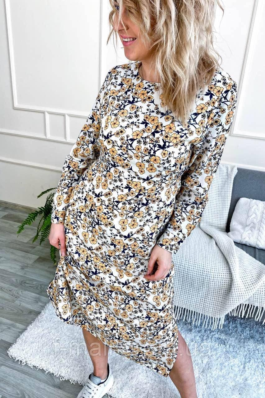 Нарядное платье с цветочным принтом длины миди (8266)