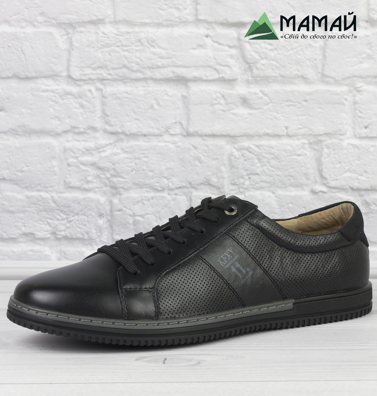 Шкіряні кросівки чоловічі з прошитою підошвою 40р