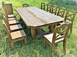 Деревянный стол 3200х1500 мм под старину для кафе, дачи от производителя. Wood Table 20