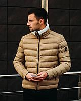 Теплая мужская куртка Люксури осень-зима бежевая. Живое фото. Есть 2 цвета, фото 1