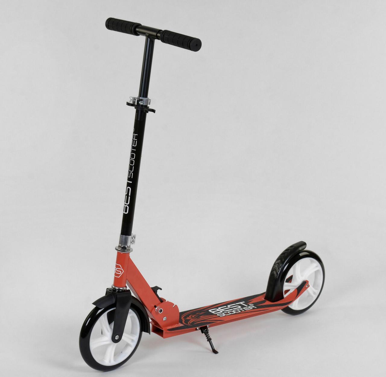 Самокат двухколесный  Best Scooter, Красный, цветные колеса PU - 20 см, зажим руля, длина доски 53 см