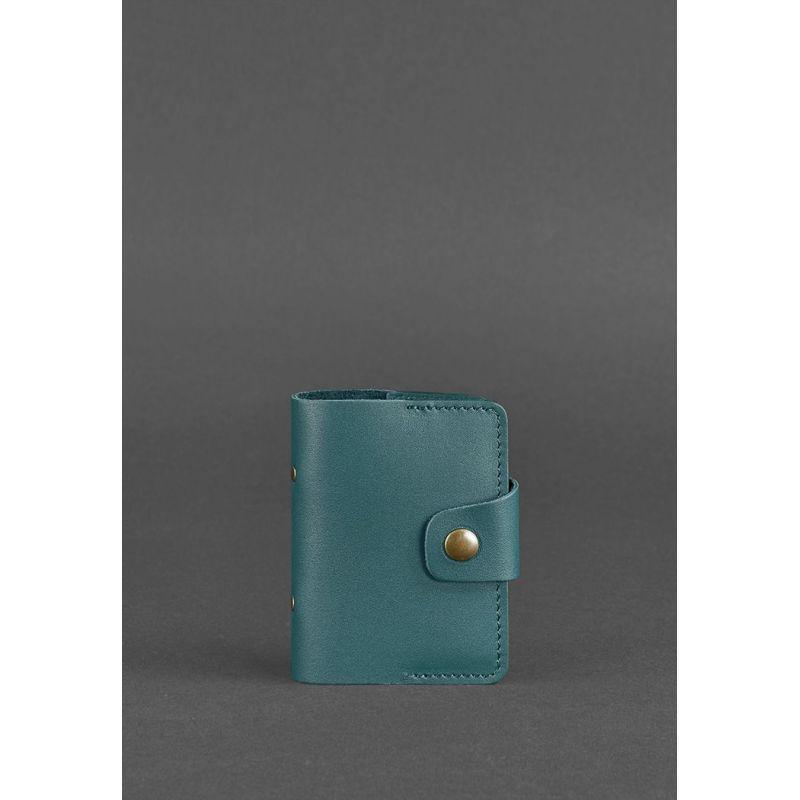 Женский кожаный кард-кейс 7.1 (Книжечка) зеленый