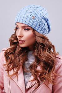 Теплая женская вязаная шапка бини в косичку цвет голубой