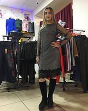Платье новогоднее серое