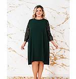 Платье женское А-силуэта с карманами темно-зеленое, фото 2