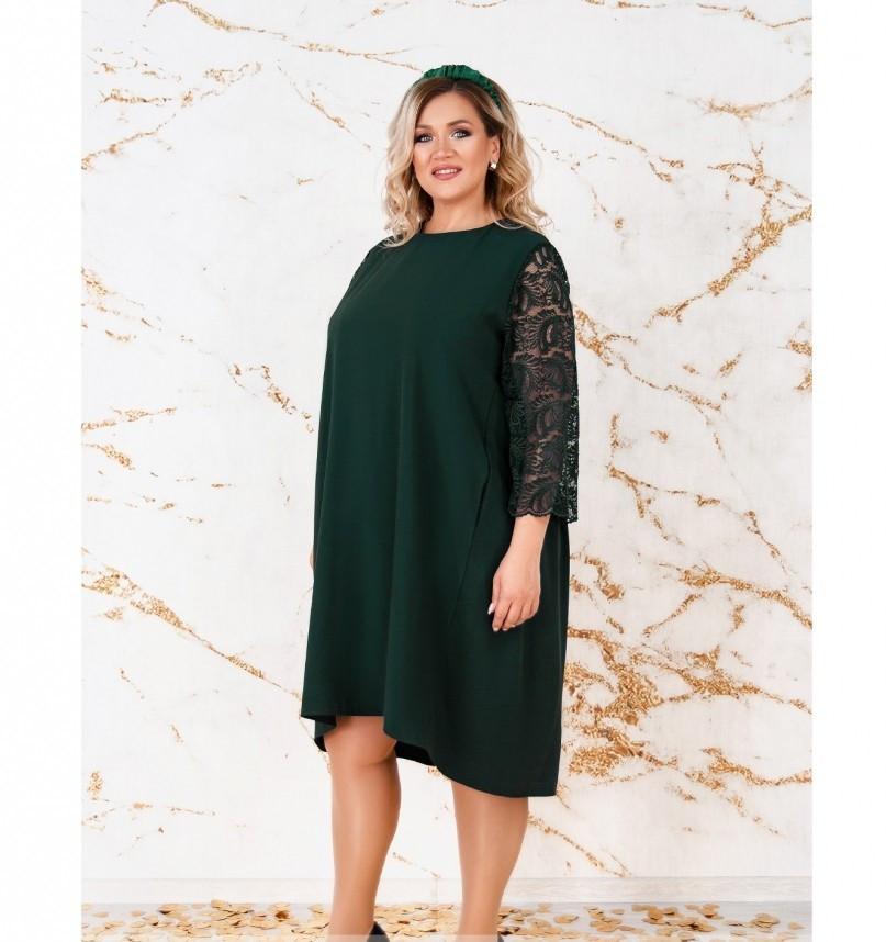 Платье женское А-силуэта с карманами темно-зеленое
