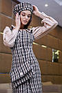 Деловое платье женское, размеры от 42 до 48, твид, чёрное в клетку, фото 3