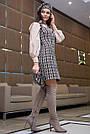 Деловое платье женское, размеры от 42 до 48, твид, чёрное в клетку, фото 4