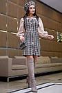 Деловое платье женское, размеры от 42 до 48, твид, чёрное в клетку, фото 5