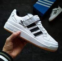 Мужские кроссовки Adidas Forum белые с черным. Фото в живую. Реплика