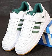 Мужские кроссовки Adidas Forum белые с зеленым кожаные. Фото в живую. Реплика