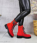 Демисезонные женские ботинки красного цвета, эко замша 36 ПОСЛЕДНИЙ РАЗМЕР, фото 4