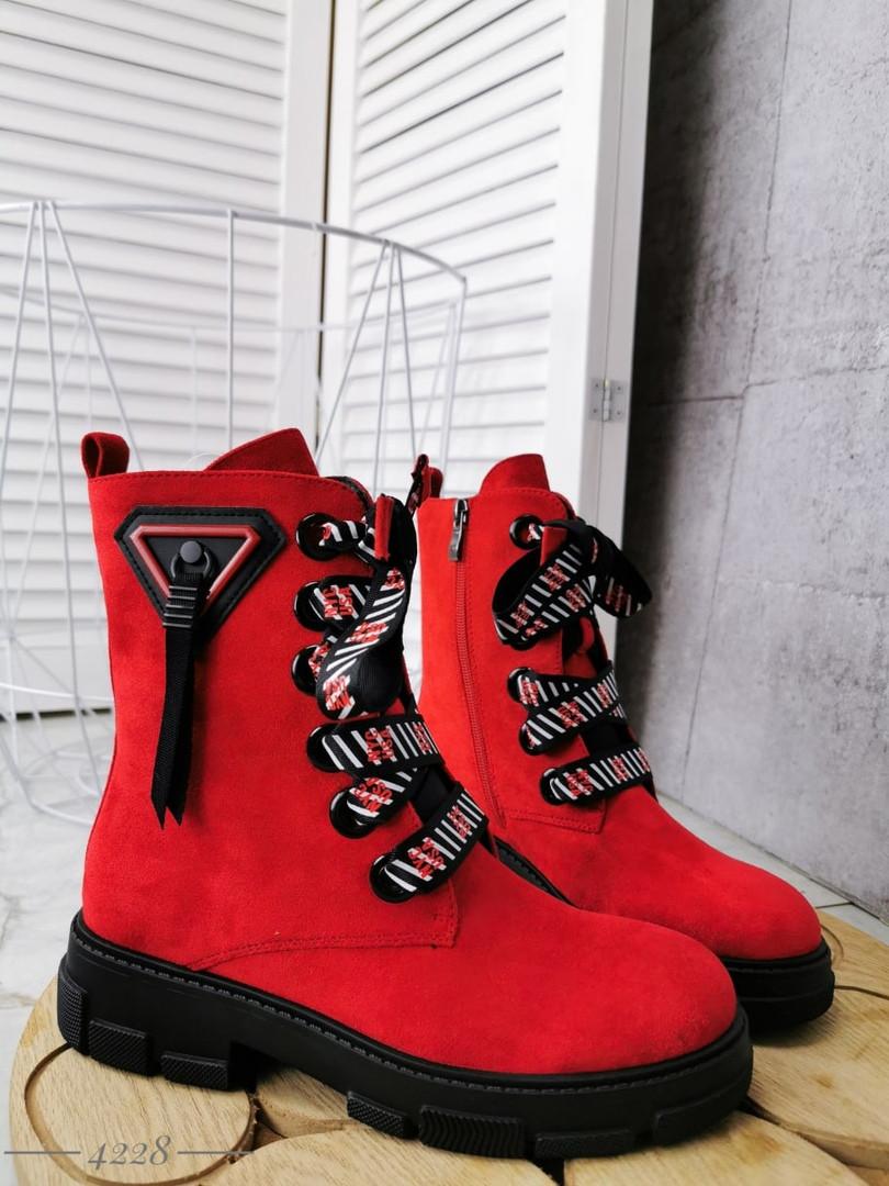 Демисезонные женские ботинки красного цвета, эко замша 36 ПОСЛЕДНИЙ РАЗМЕР