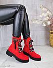Демисезонные женские ботинки красного цвета, эко замша 36 ПОСЛЕДНИЙ РАЗМЕР, фото 5