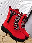 Демисезонные женские ботинки красного цвета, эко замша 36 ПОСЛЕДНИЙ РАЗМЕР, фото 6