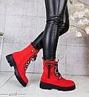 Демисезонные женские ботинки красного цвета, эко замша 36 ПОСЛЕДНИЙ РАЗМЕР, фото 8