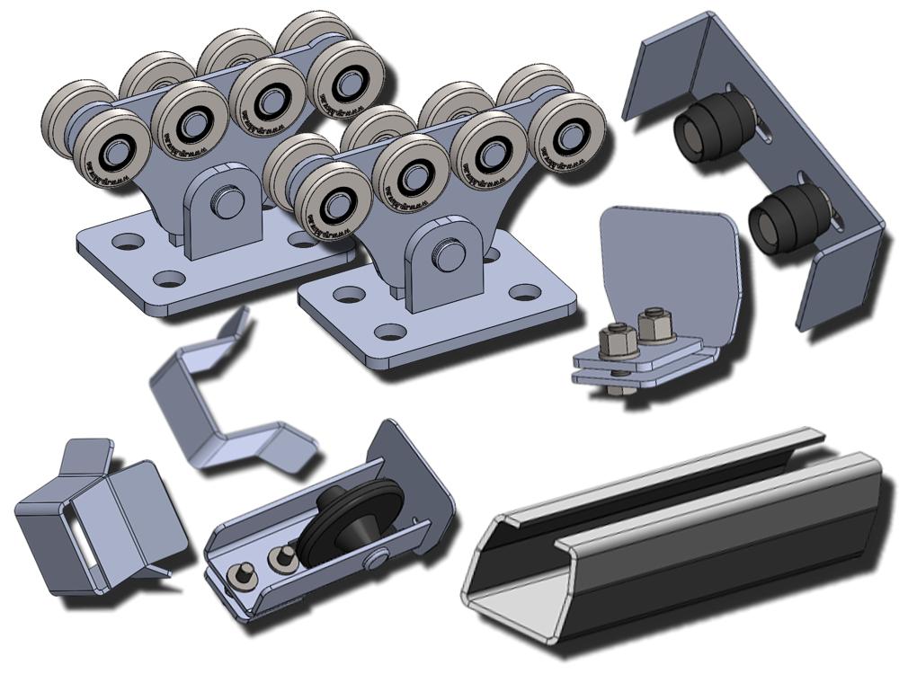 Фурнитура для откатных ворот SP-5,6 STANDART, до 500 кг, черная 3,5 мм