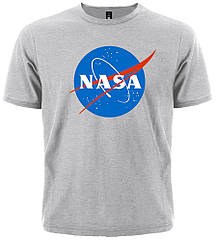 Серая футболка NASA (меланж), Размер L