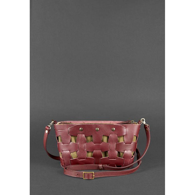 Кожаная женская сумка Пазл S бордовая Krast