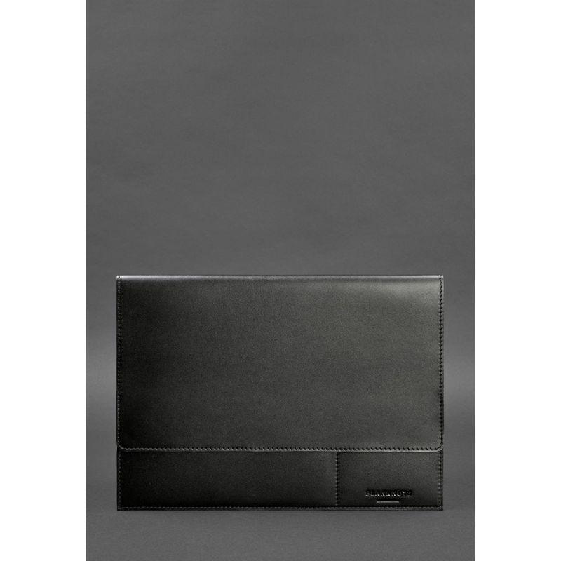 Кожаная папка для документов А4 (на магнитах) черная