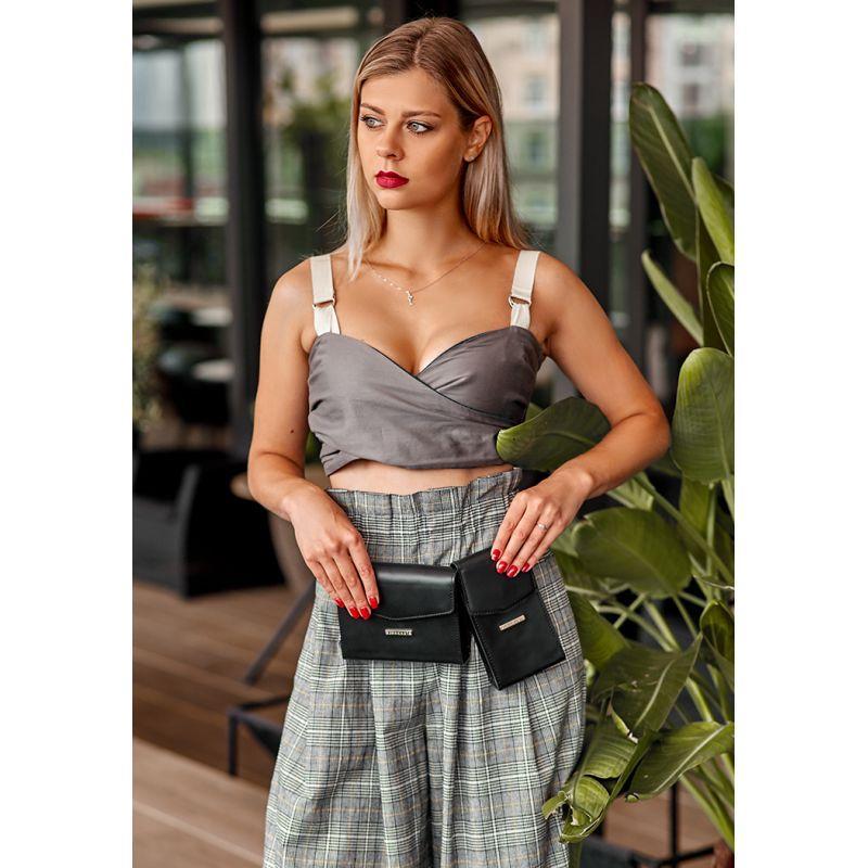 Набор женских черных кожаных сумок Mini поясная/кроссбоди