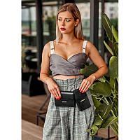 Набор женских черных кожаных сумок Mini поясная/кроссбоди, фото 1