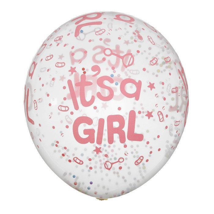 Упаковка шаров 5 шт латекс прозрачные с наполнением шарики гел