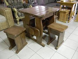 Садовая мебель из массива дерева 750*750 от производителя для дачи, кафе, комплект Furniture set - 01